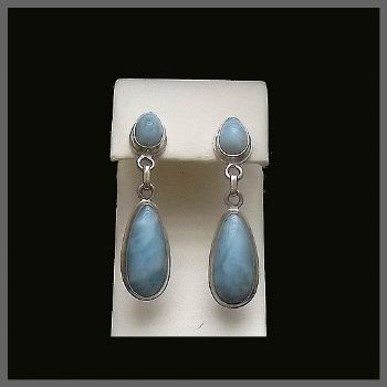 Heavy 2 Stone Pear Drop Larimar Post Earrings